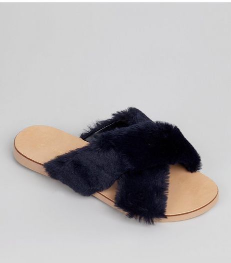 Wide Fit Navy Faux Fur Cross Front Sliders  | New Look