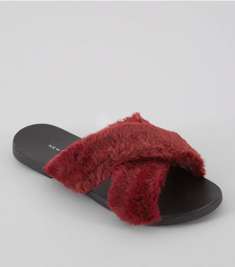 Wide Fit Red Faux Fur Sliders | New Look
