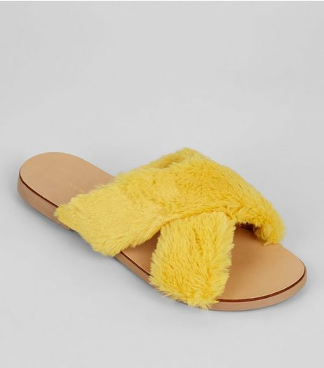 Wide Fit Yellow Faux Fur Cross Front Sliders | New Look