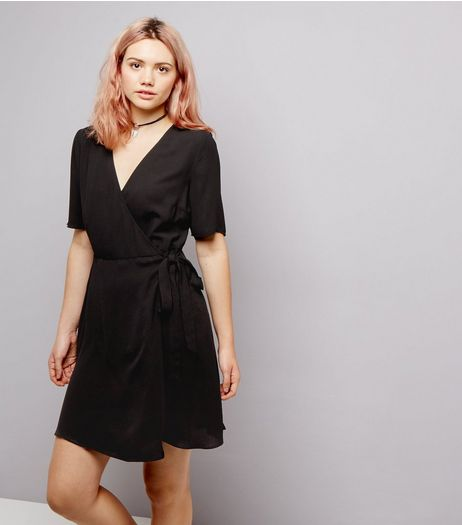 Black V Neck Wrap Tie Waist Dress | New Look