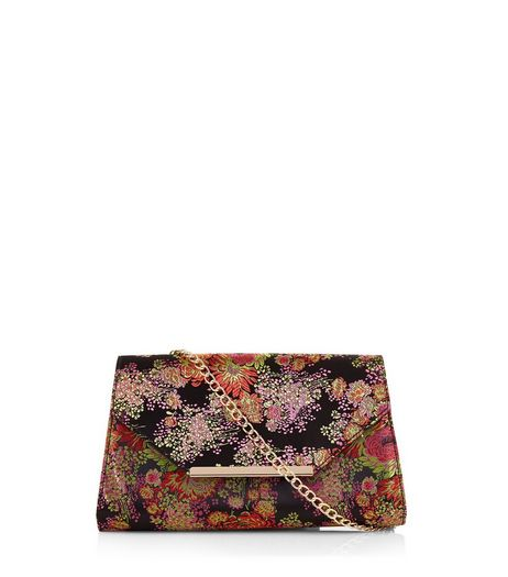 Black Floral Jaquard Clutch | New Look