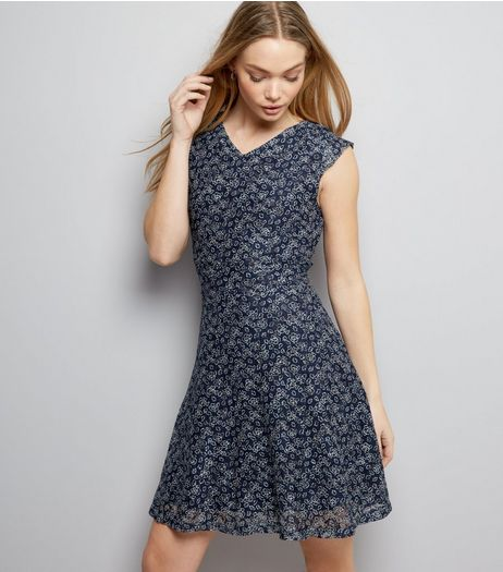 Mela Navy Ditsy Floral Print Sleeveless Dress  | New Look