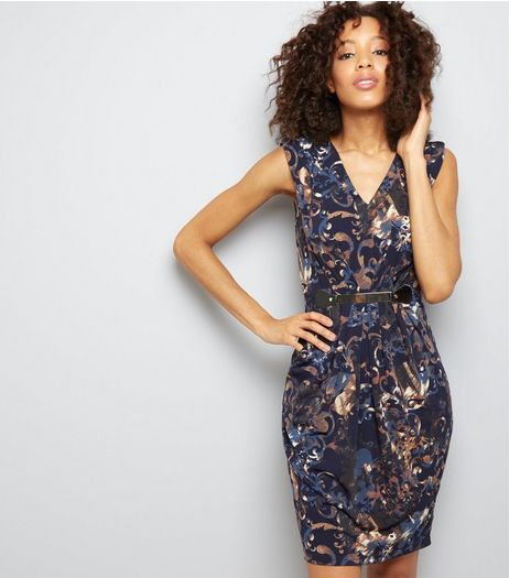 Mela Navy Floral Bar Trim Mini Dress | New Look