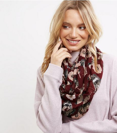 Burgundy Butterfly Print Snood  | New Look