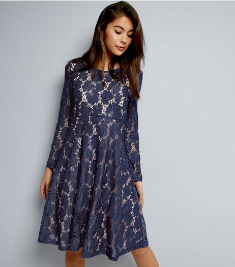 Mela Navy Floral Lace Long Sleeve Dress  | New Look