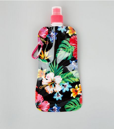 Black Floral Print Foldable Water Bottle | New Look