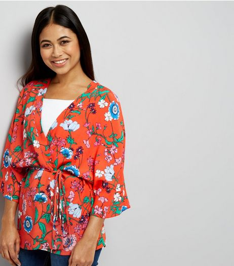 Petite Red Floral Print Kimono | New Look