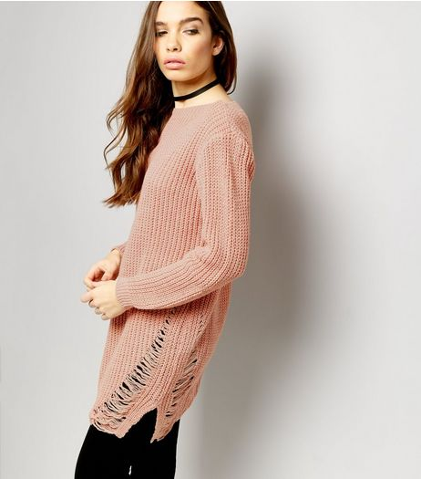 Cameo Rose Mid Pink Ladder Hem Jumper  | New Look