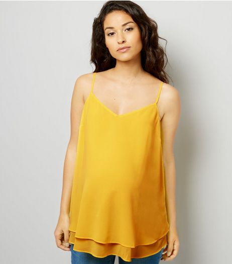 Maternity Yellow Cross Back Cami | New Look