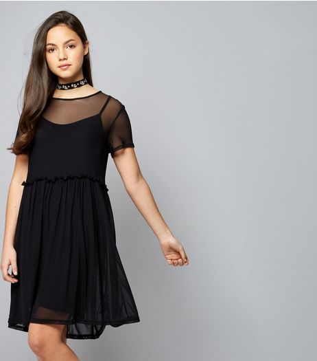 Teens Black Mesh Drop Hem Dress | New Look