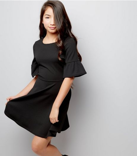 Teens Black Bell Sleeve Crepe Scuba Skater Dress | New Look