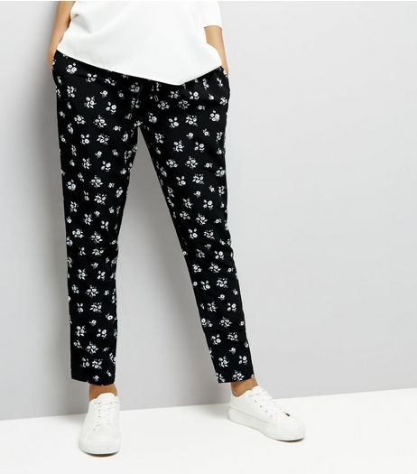Maternity Black Floral Print Joggers | New Look