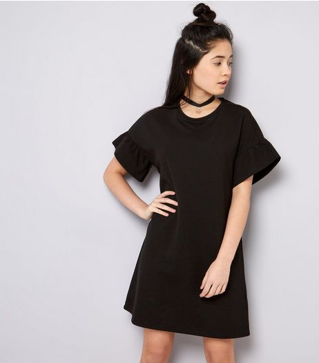 Teens Black Frill Sleeve Tunic Dress | New Look