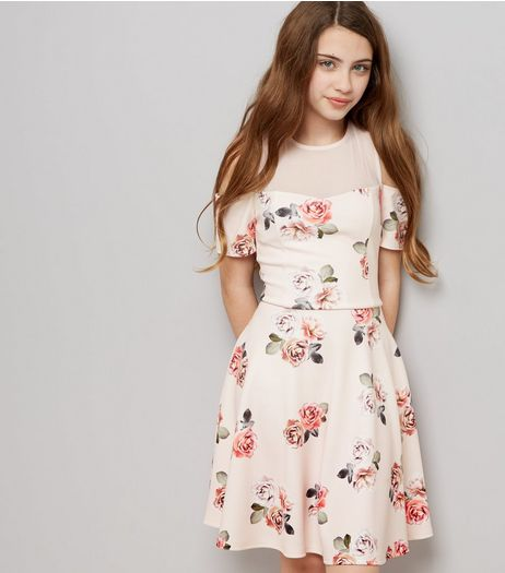 Teens Pink Floral Print Cold Shoulder Skater Dress | New Look