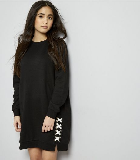 Teens Black Eyelet Lace Up Sweater Dress | New Look