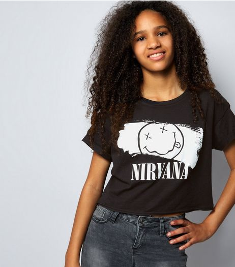 Teens Black Nirvana Logo T-Shirt | New Look