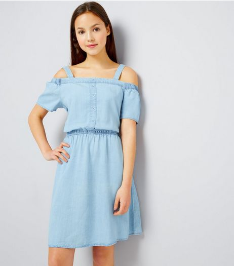 Teens Pale Blue Button Front Cold Shoulder Denim Dress | New Look