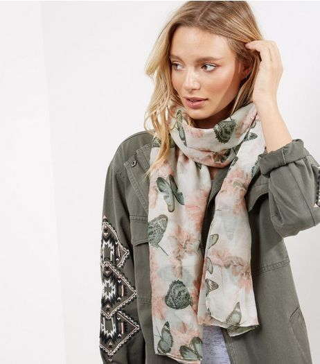 White Floral and Butterfly Print Longline Scarf | New Look