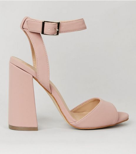 Pink Flared Block Heeled Sandals | New Look