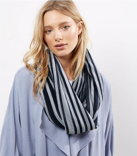 Navy Stripe Snood | New Look