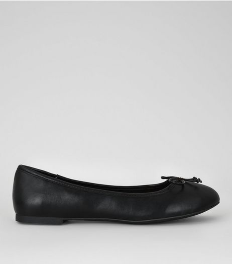 Black Bow Front Ballet Pumps | New Look