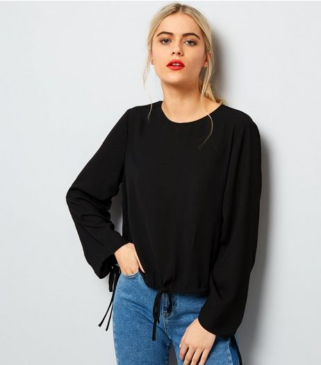 Black Ruched Tie Hem Top | New Look