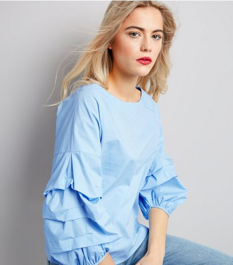 Blue Pleated Balloon Sleeve Top | New Look