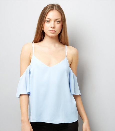 Pale Blue Cross Back Cold Shoulder Top | New Look