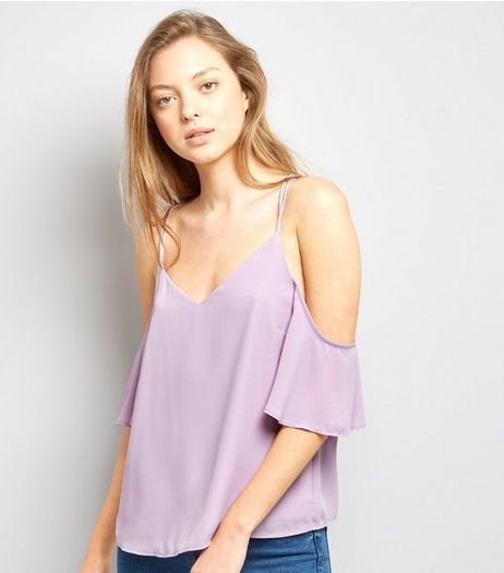 Lilac Cross Strap Back Cold Shoulder Top  | New Look