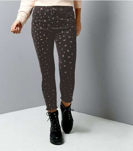 Black Floral Print Skinny Jeans  | New Look