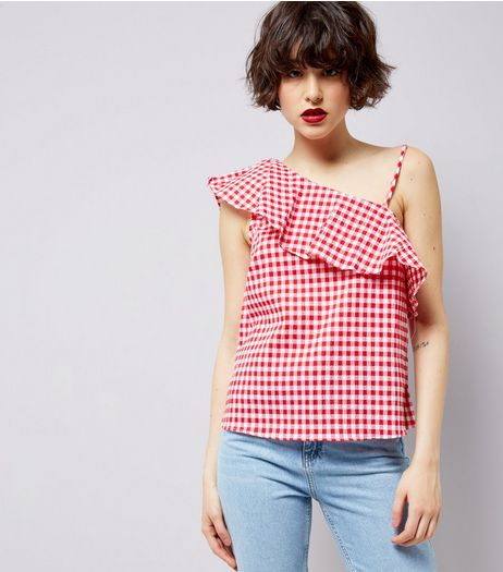 Red Gingham Print Frill Trim Off the Shoulder Top | New Look