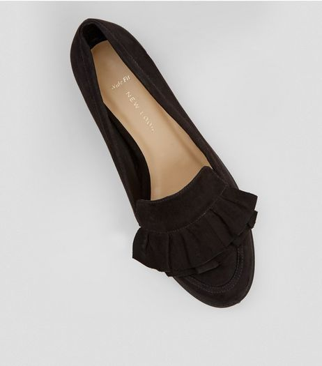 Wide Fit Black Frill Trim Loafers | New Look