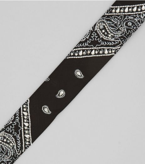 Black Crystal Embellished Paisley Print Bandana | New Look