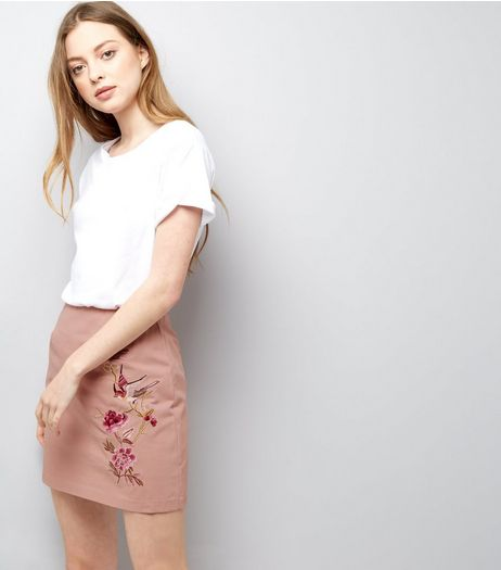 Pink Floral Bird Embroidered Mini Skirt | New Look