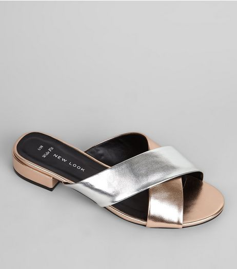 Wide Fit Rose Gold Contrast Cross Strap Mules | New Look