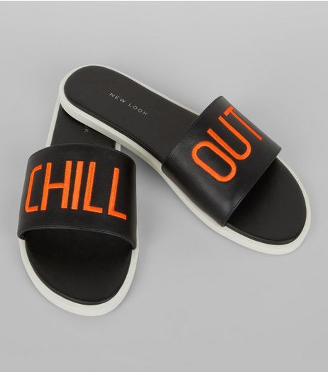 Wide Fit Black Chill Out Mules | New Look