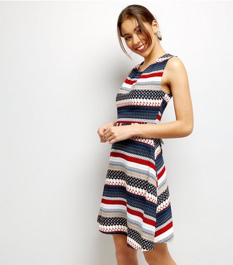 Mela Multi Coloured Stripe Mini Dress | New Look