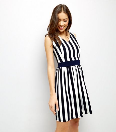 Mela Navy Stripe Tie Back Sleeveless Dress  | New Look