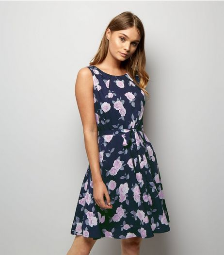 Mela Black Floral Print Tie Waist Skater Dress  | New Look