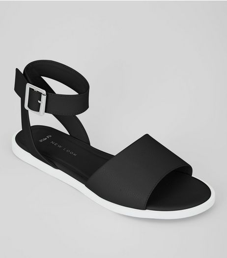 Wide Fit Black Contrast Sole Sandals | New Look
