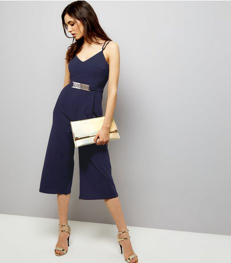 Mela Navy Belted Culotte Jumpsuit | New Look