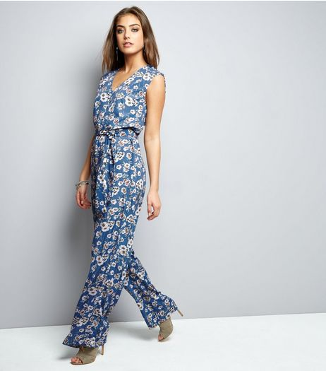 Mela Blue Floral Print Jumpsuit  | New Look