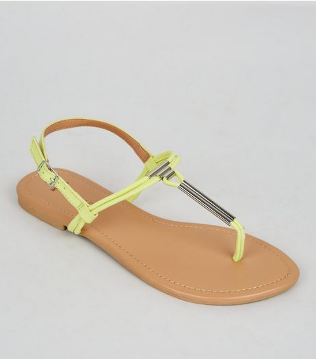 Wide Fit Neon Yellow Suedette Toe Post Sandals | New Look