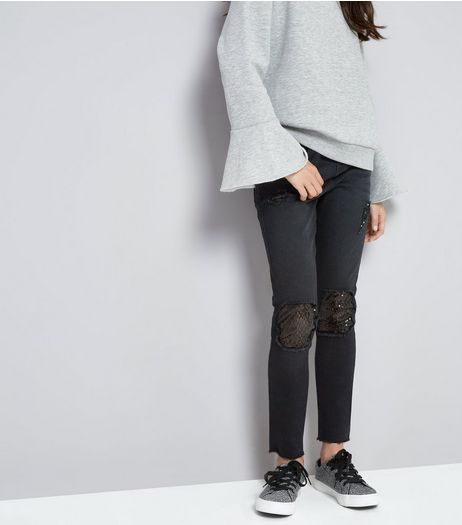 Teens Black Ripped Sequin Insert Skinny Jeans | New Look