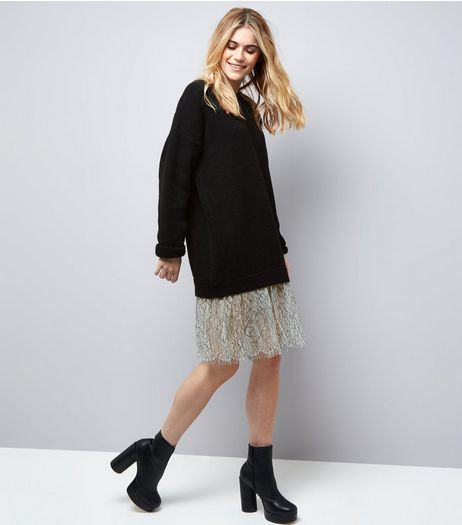 Black 2 In 1 Lace Hem Jumper Dress | New Look