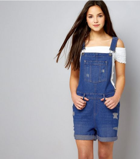 Teens Blue Ripped Short Dungarees | New Look