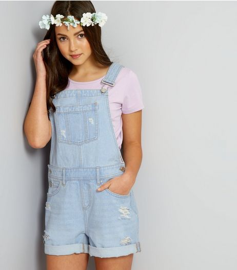 Teens Pale Blue Ripped Short Dungarees | New Look