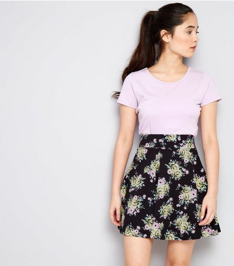 Teens Black floral Print Skater Skirt | New Look