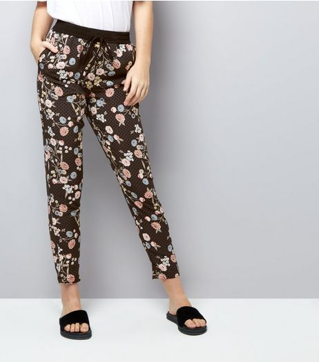 Tall Black Floral Print Joggers  | New Look
