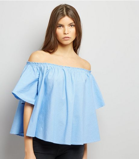 Blue Stripe Bardot Top | New Look
